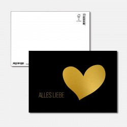Postkarte Goldstück alles...