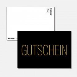 Postkarte Goldstück Gutschein