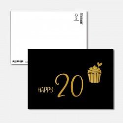 Postkarte Goldstück Happy 20