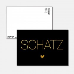 Postkarte Goldstück Schatz