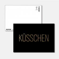 Postkarte Goldstück Küsschen