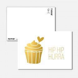 Postkarte Goldstück Hip Hip...