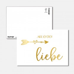 Postkarte Goldstück weil...