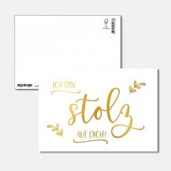 Postkarte Goldstück stolz...