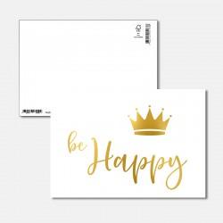 Postkarte Goldstück be Happy