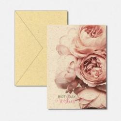 Karte aus Graspapier Rosen
